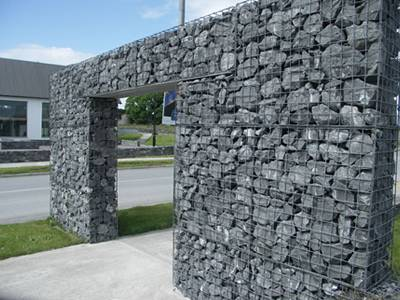 Welded 10% aluminum-zinc gabions are formed a passageway.
