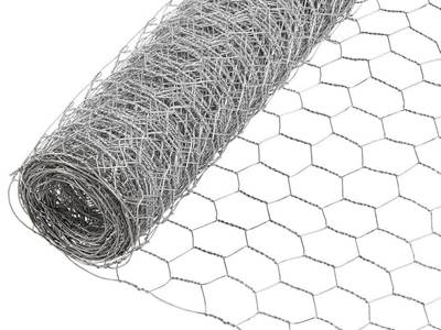 A roll of galvanized chicken wire on the white background.