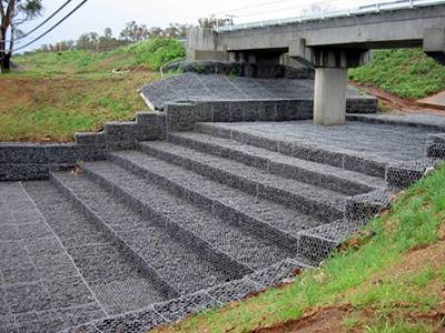 Woven gabions are installed under of the bridge.