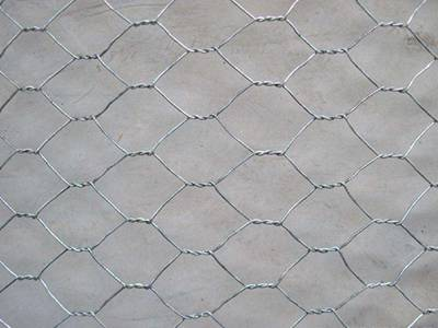 A piece of galvanized woven gabion on the gray background.